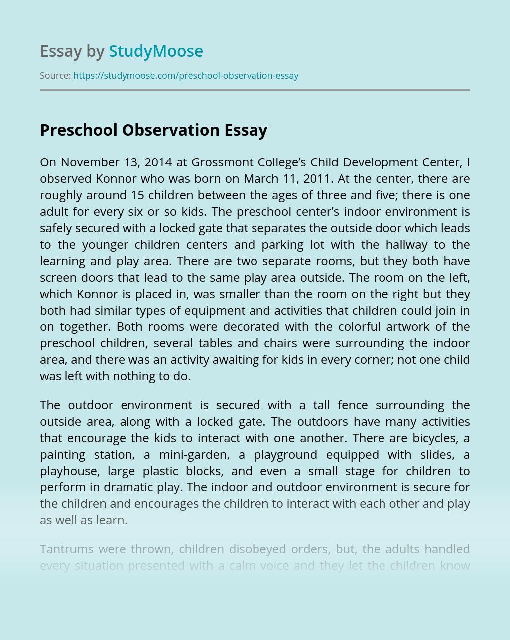 Preschool Observation