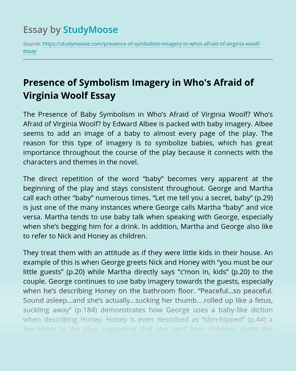 Presence of Symbolism Imagery in Who's Afraid of Virginia Woolf