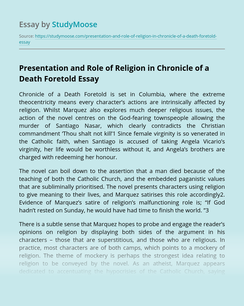 Presentation and Role of Religion in Chronicle of a Death Foretold
