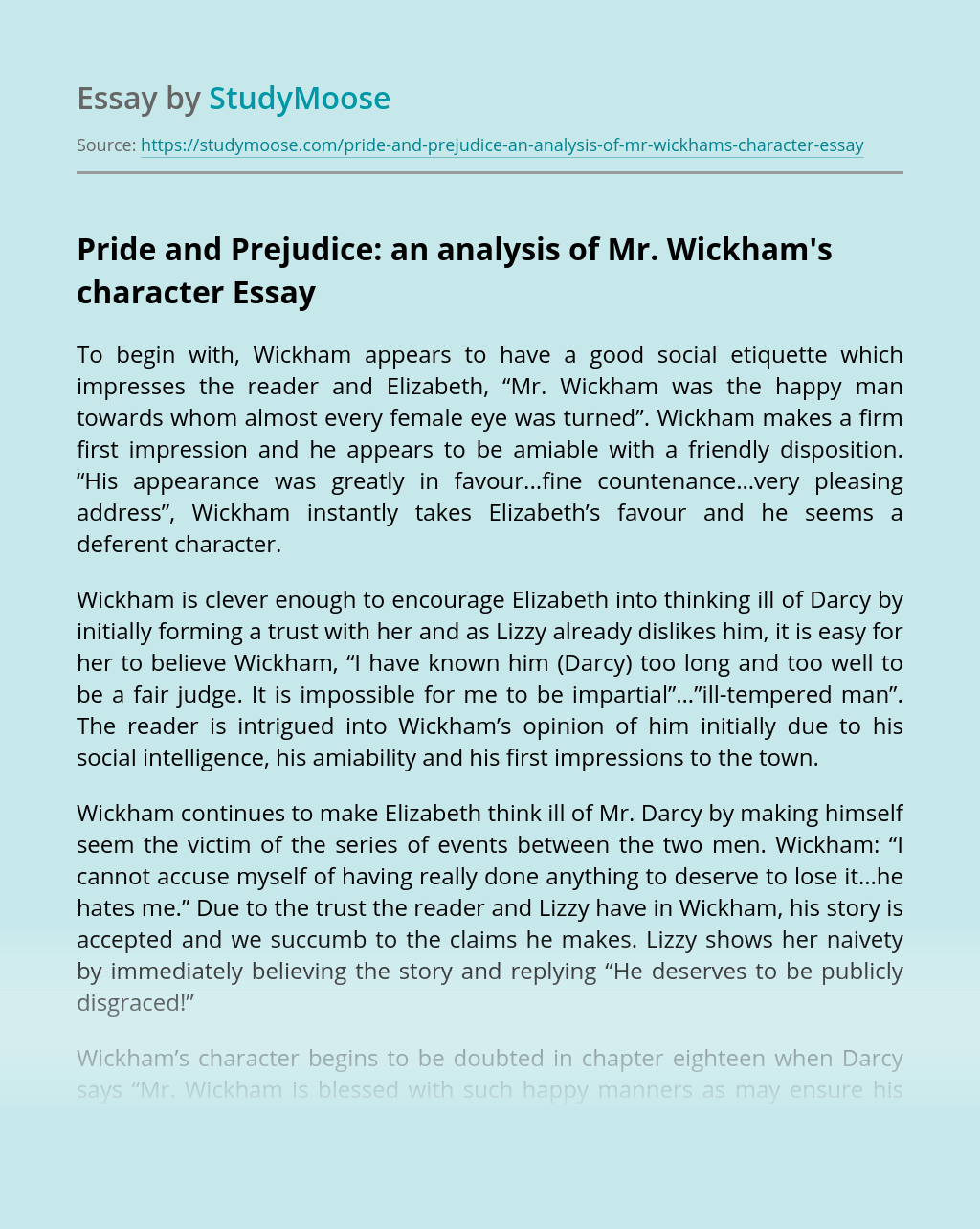 Pride and Prejudice: an analysis of Mr. Wickham's character