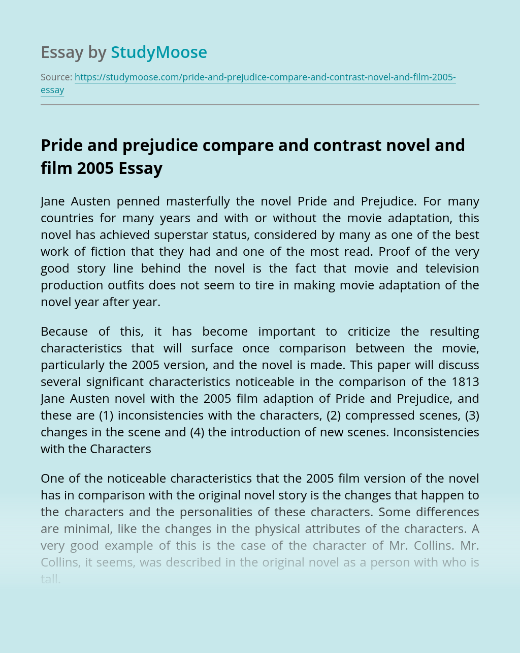 Pride and prejudice compare and contrast novel and film 2005