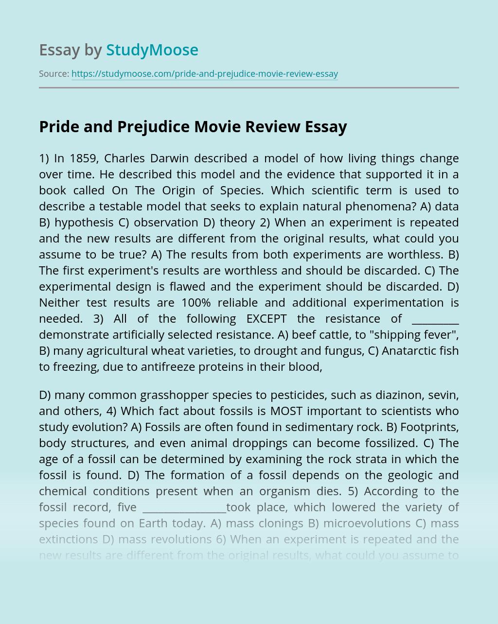 Pride and Prejudice Movie Review