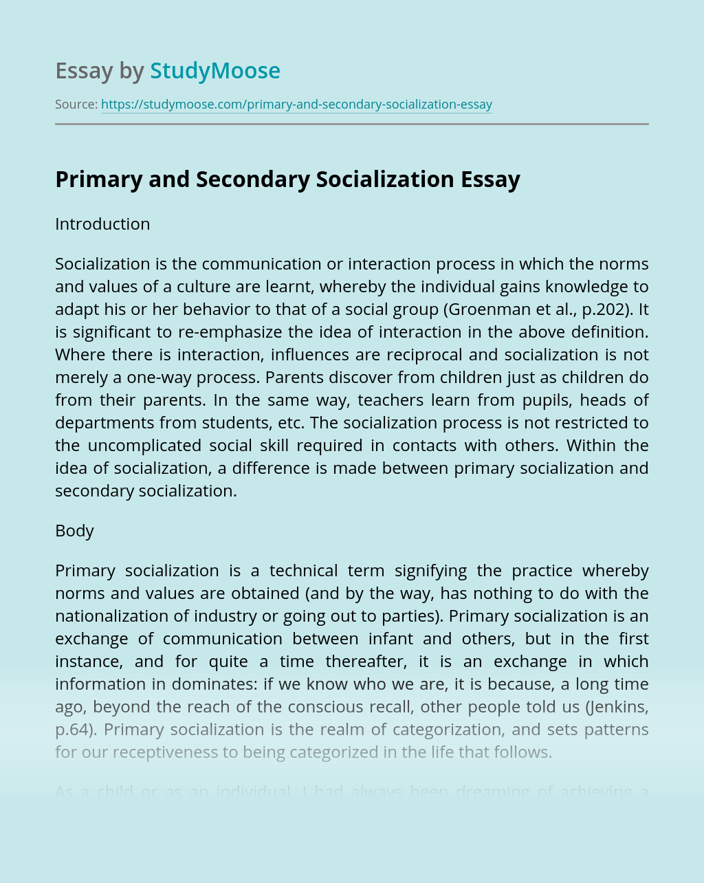 Primary and Secondary Socialization