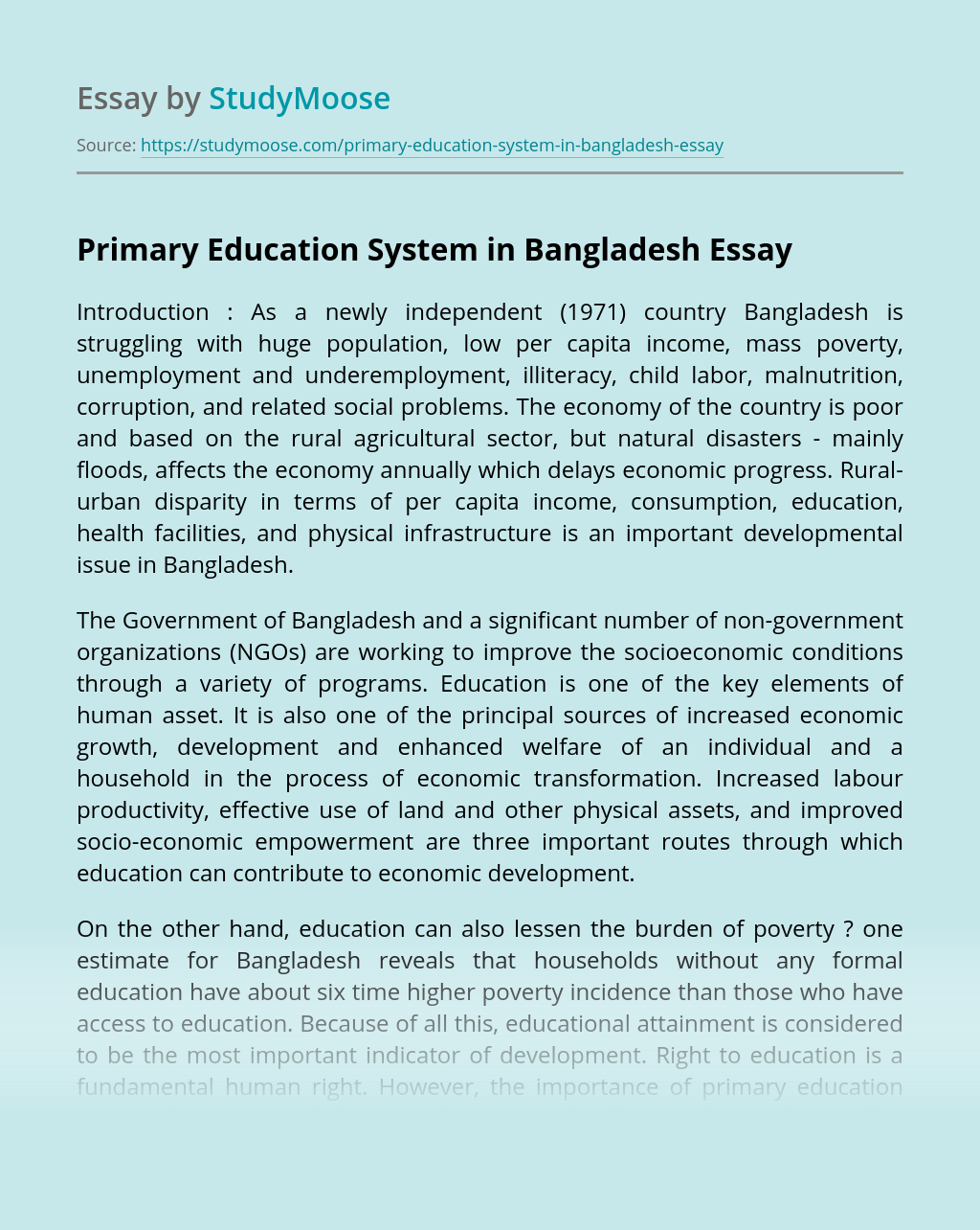 Primary Education System in Bangladesh