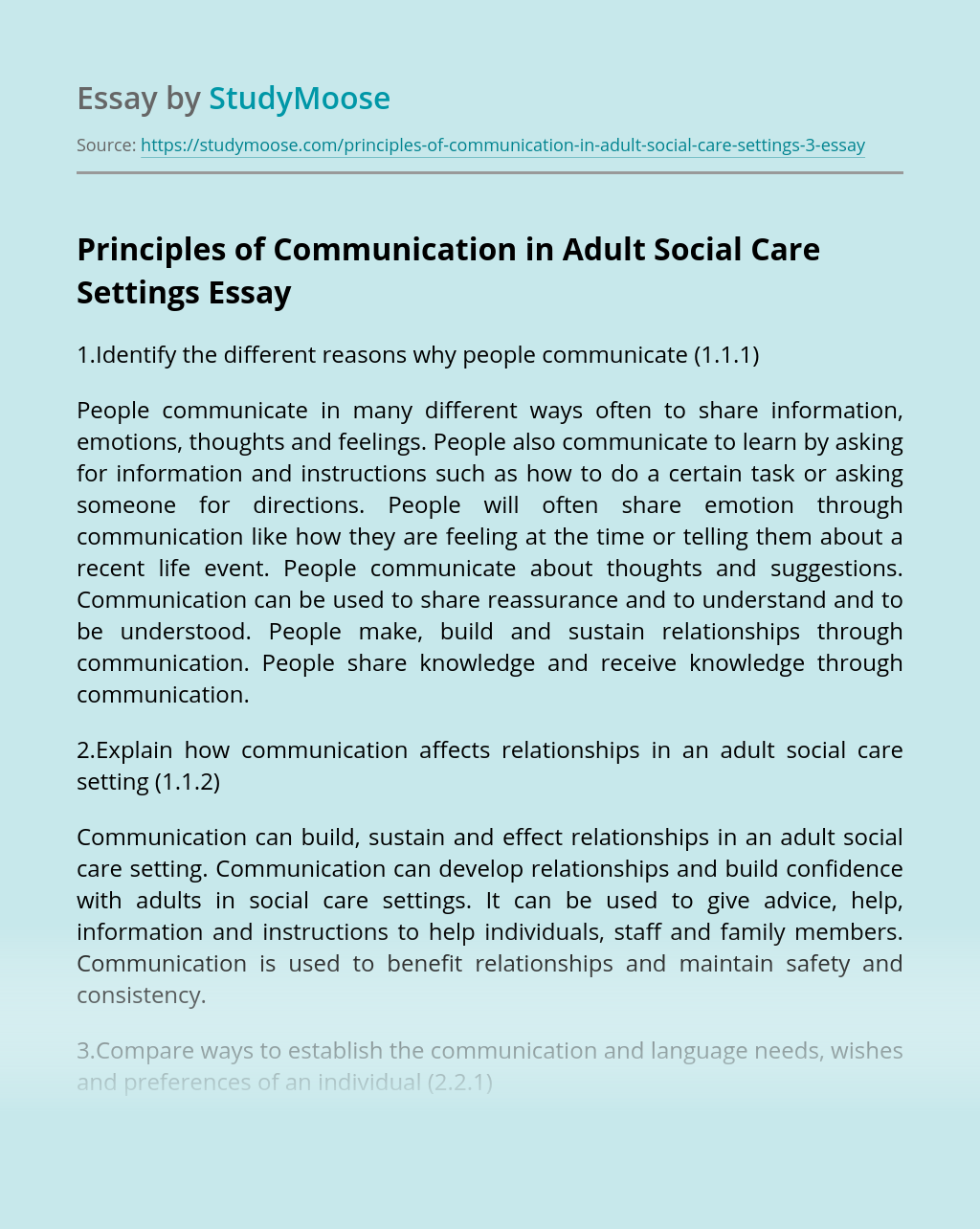 Principles of Communication in Adult Social Care Settings