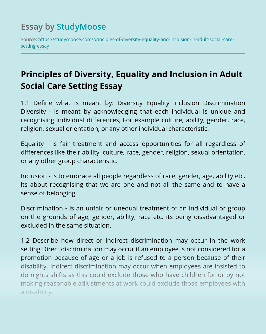 Principles of Diversity, Equality and Inclusion in Adult Social Care Setting