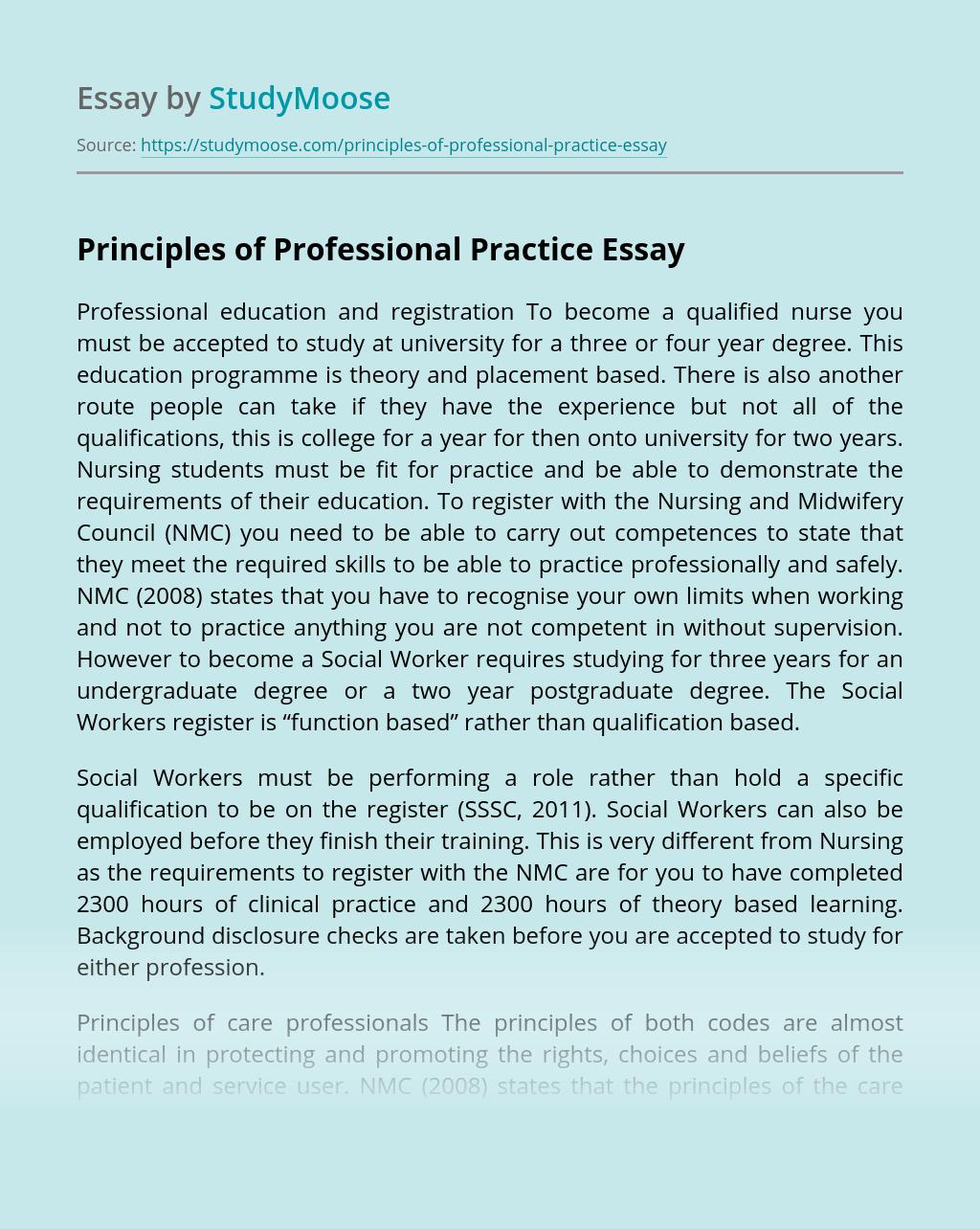 Principles of Professional Practice