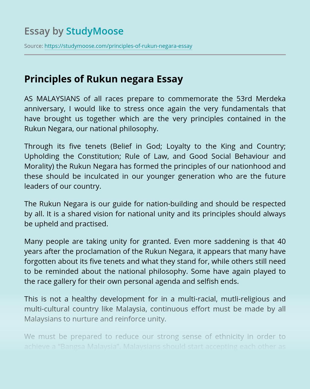 Principles of Rukun negara