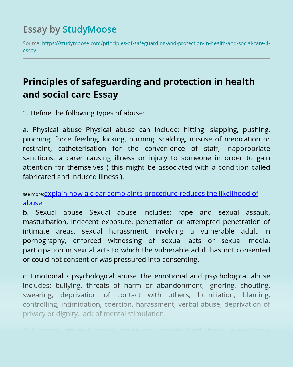 Principles of safeguarding and protection in health and social care