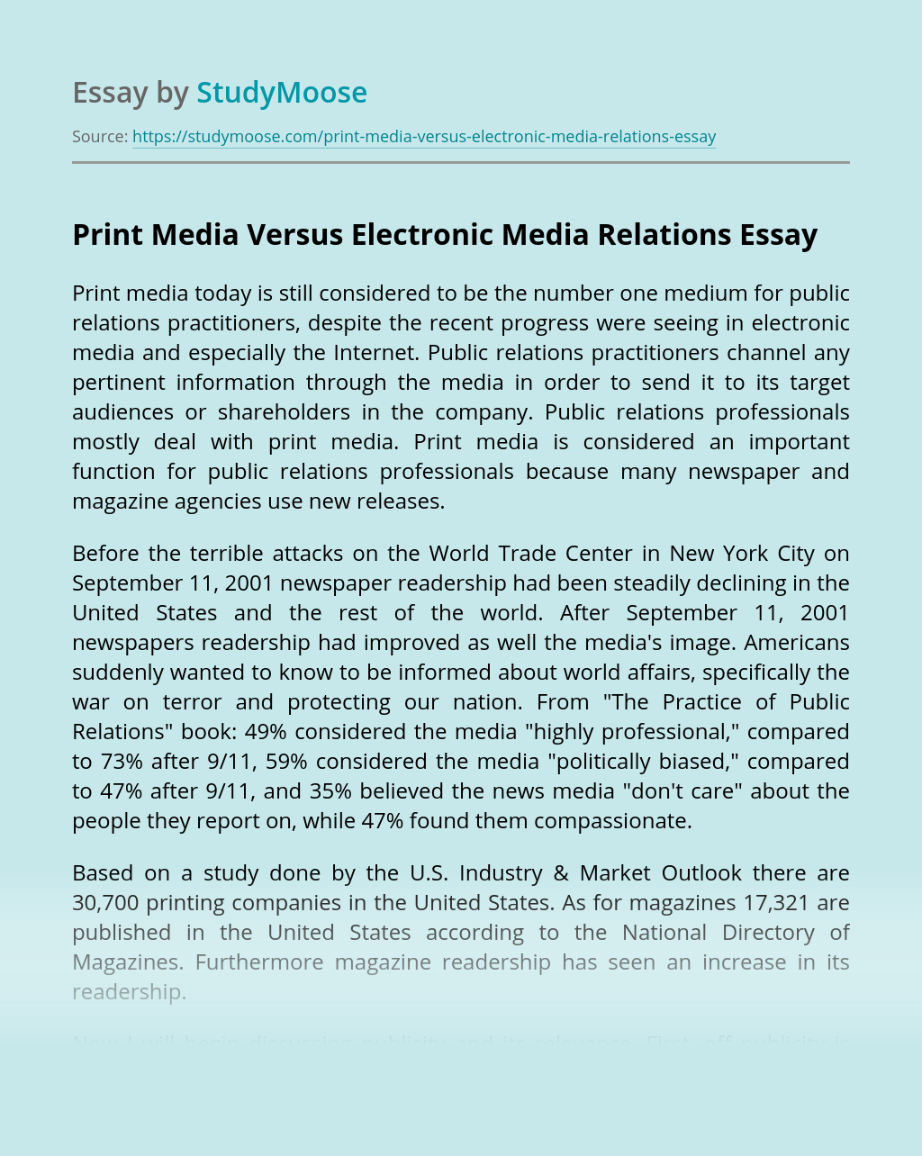 Print Media Versus Electronic Media Relations