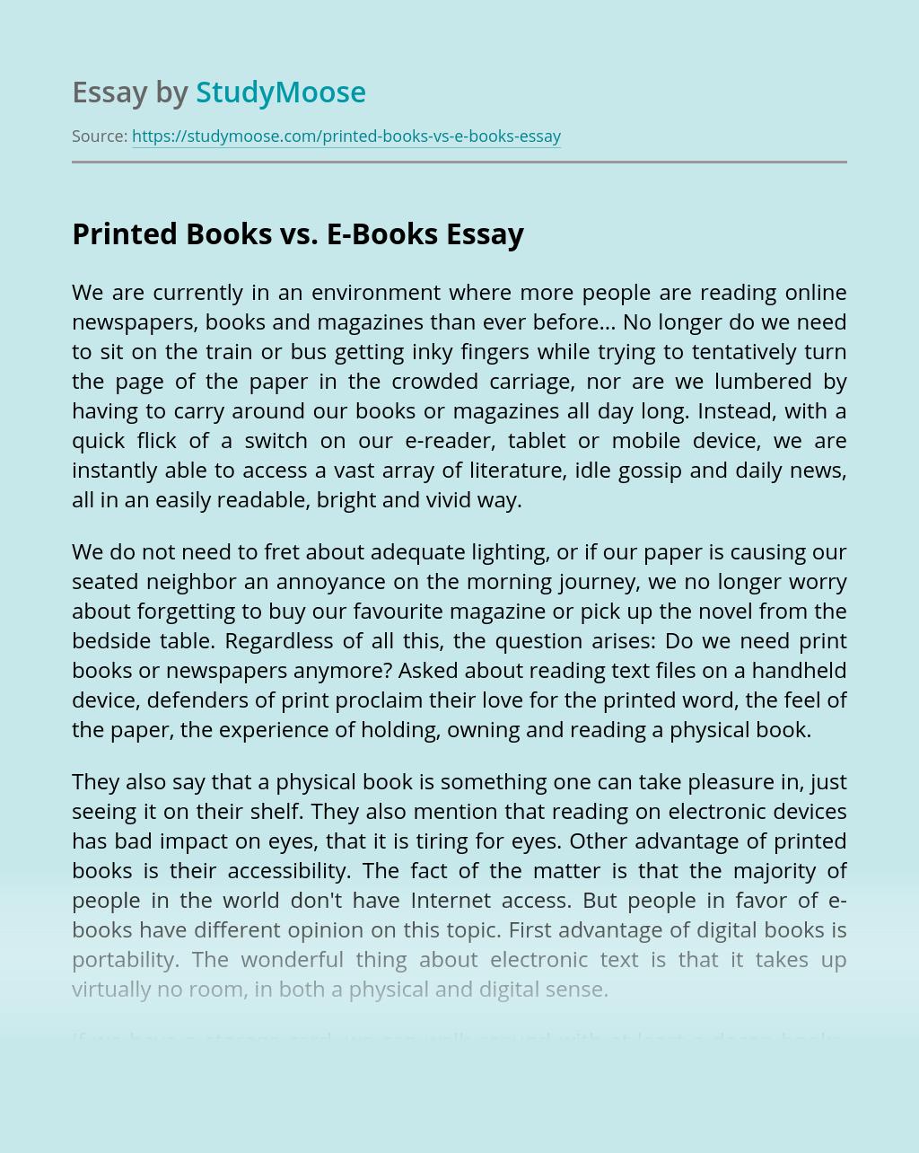 Printed Books vs. E-Books