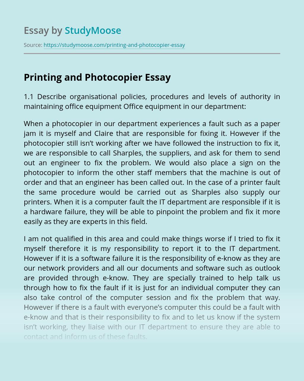 Printing and Photocopier