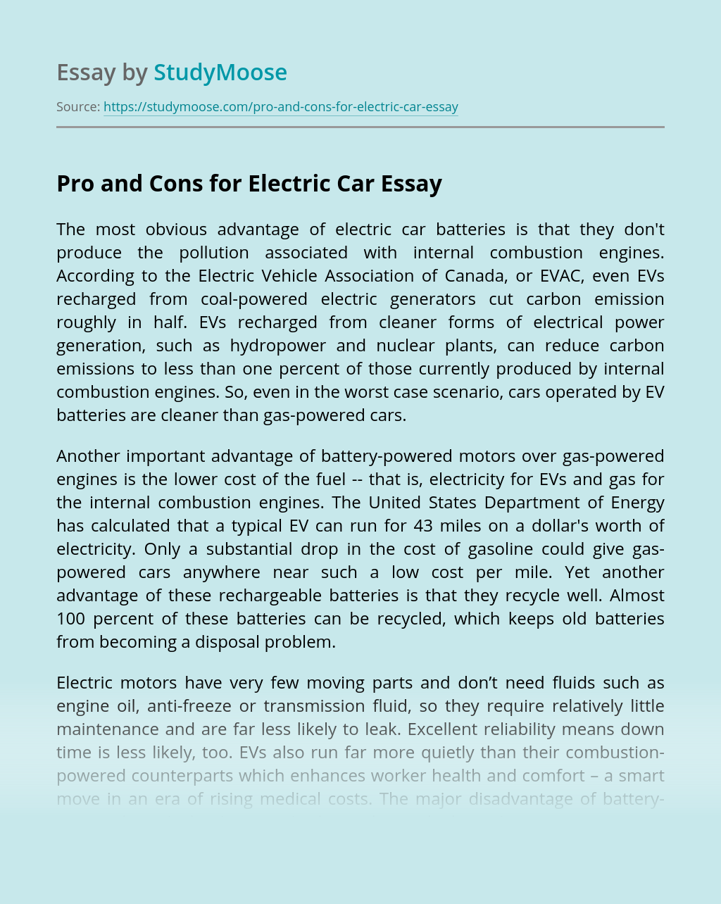 Pro and Cons for Electric Car