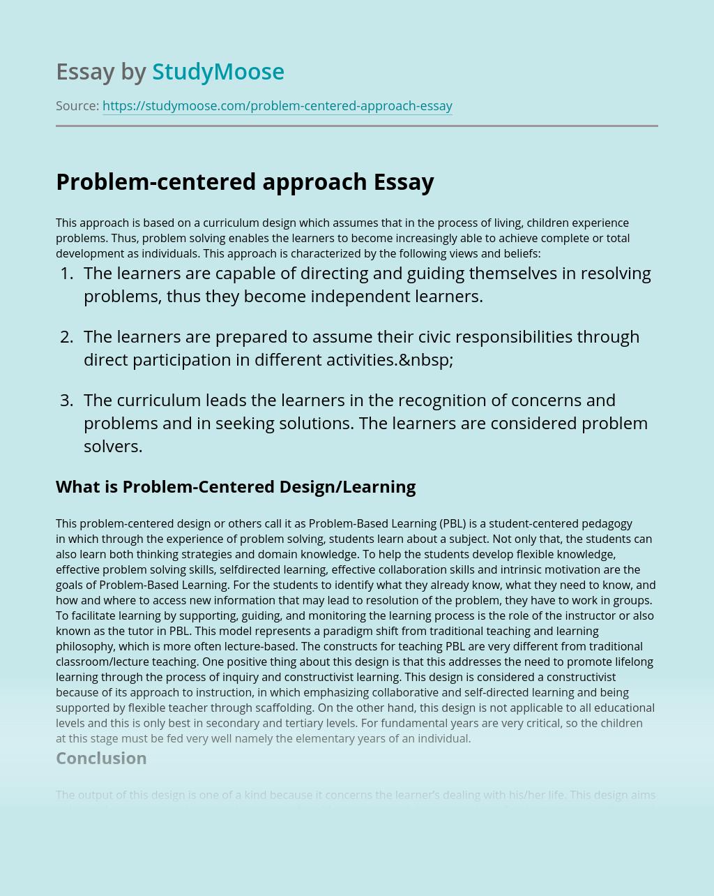 Problem-centered approach