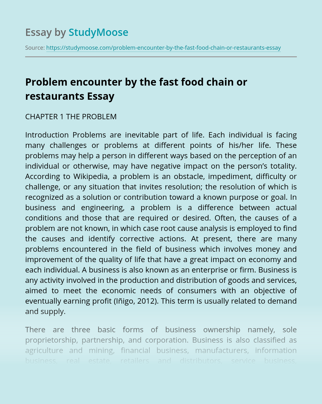 Problem encounter by the fast food chain or restaurants