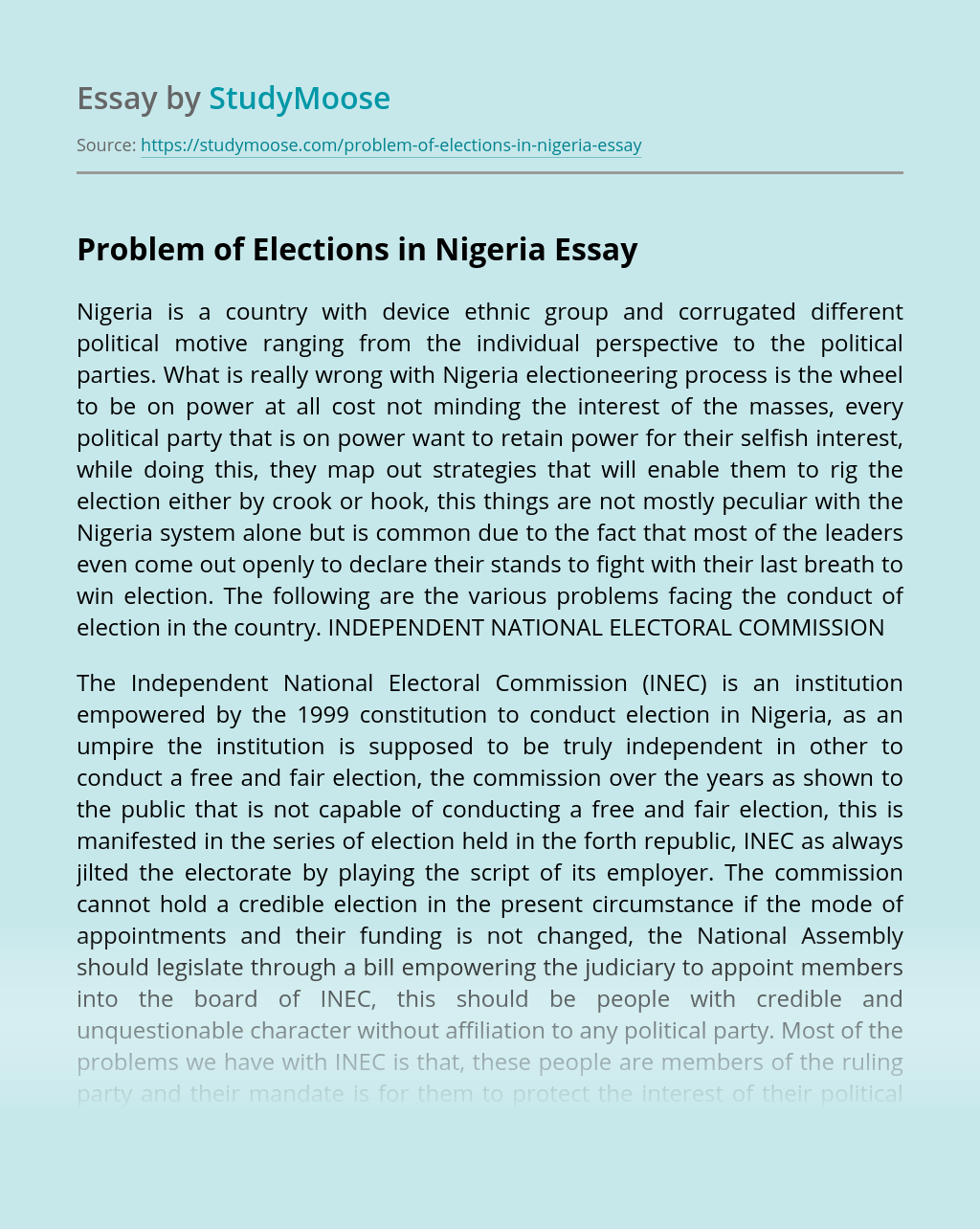 Problem of Elections in Nigeria