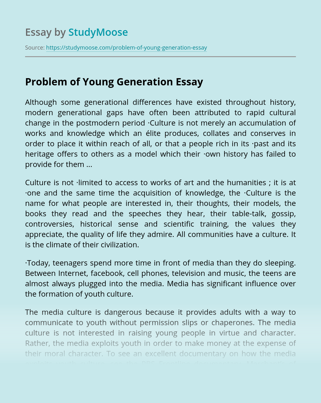 problems of young people essay
