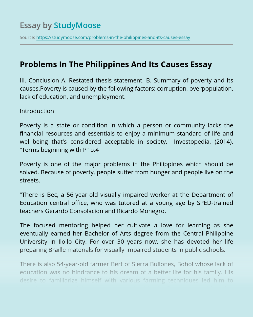 Problems In The Philippines And Its Causes