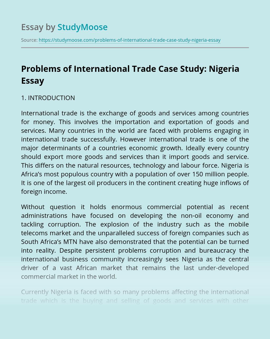 Problems of International Trade Case Study: Nigeria