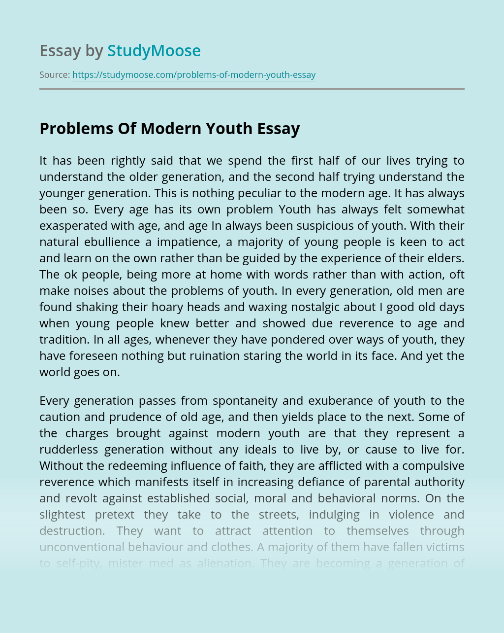 Problems Of Modern Youth