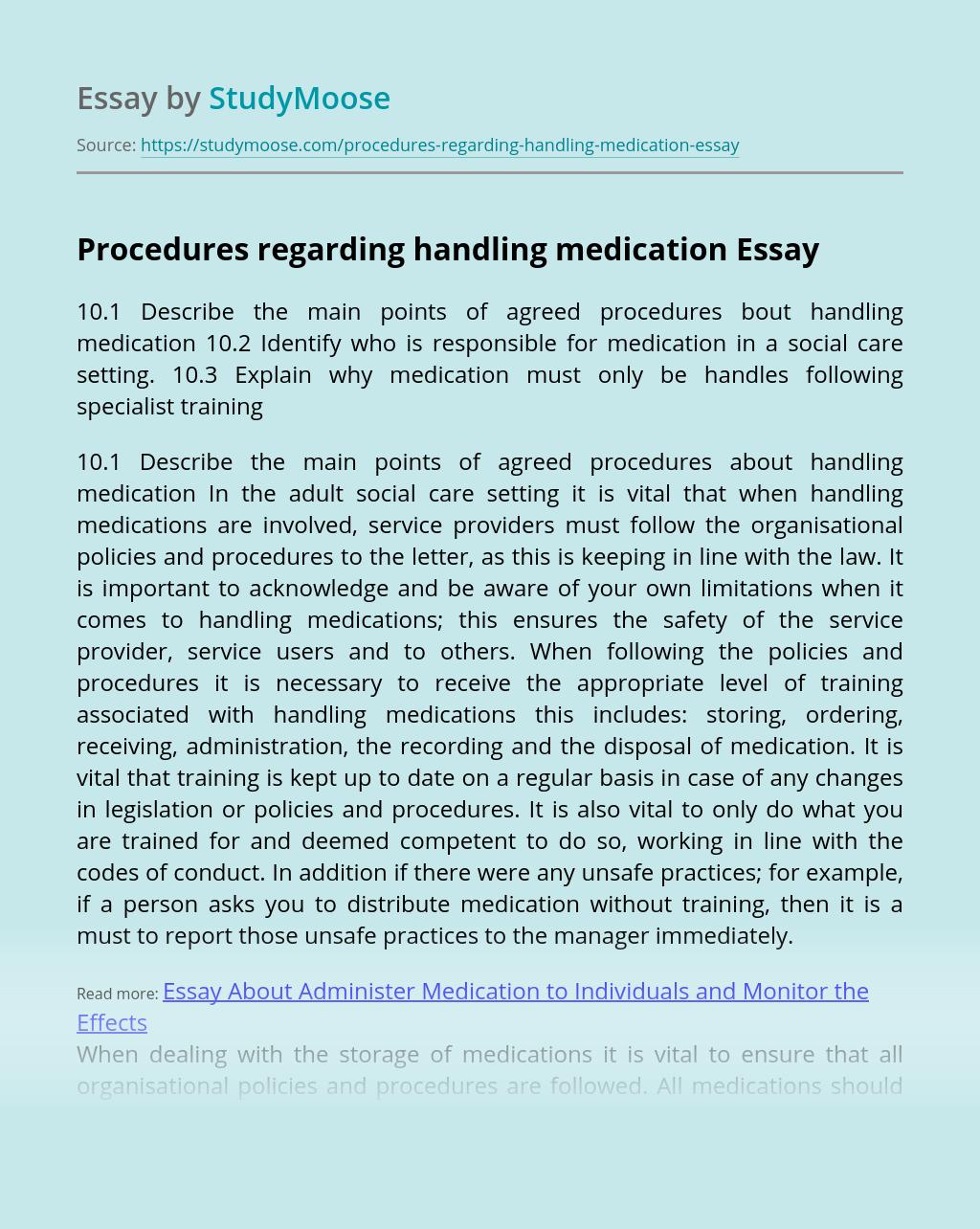 Procedures regarding handling medication