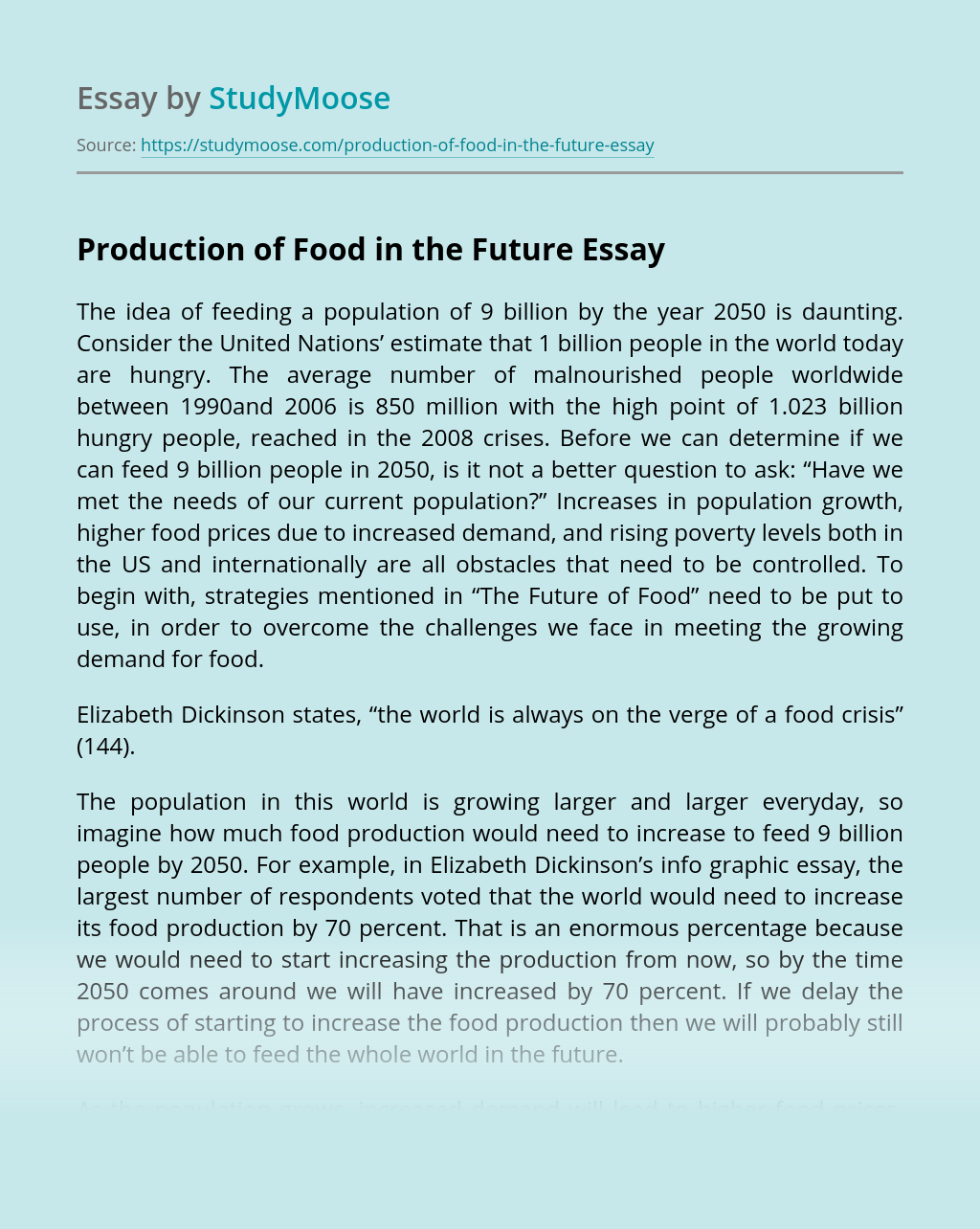 Production of Food in the Future