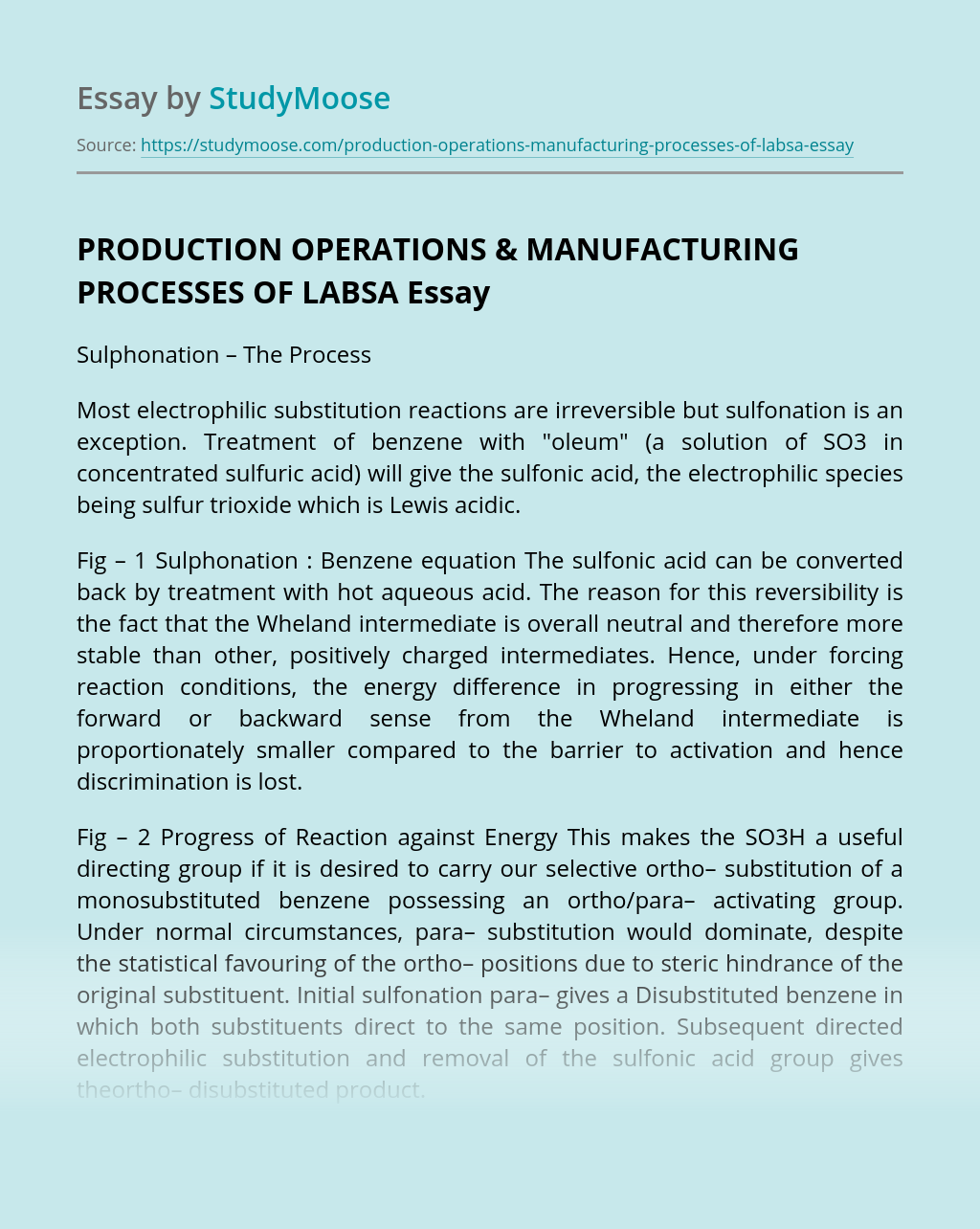 PRODUCTION OPERATIONS & MANUFACTURING PROCESSES OF LABSA