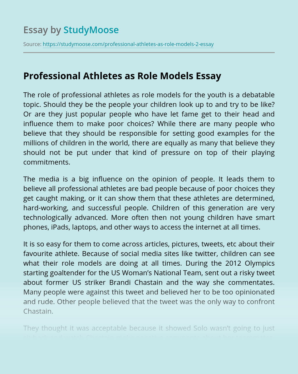 Professional Athletes as Role Models