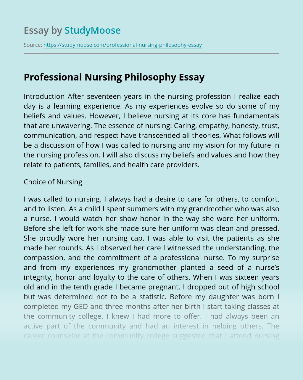 Professional Nursing Philosophy