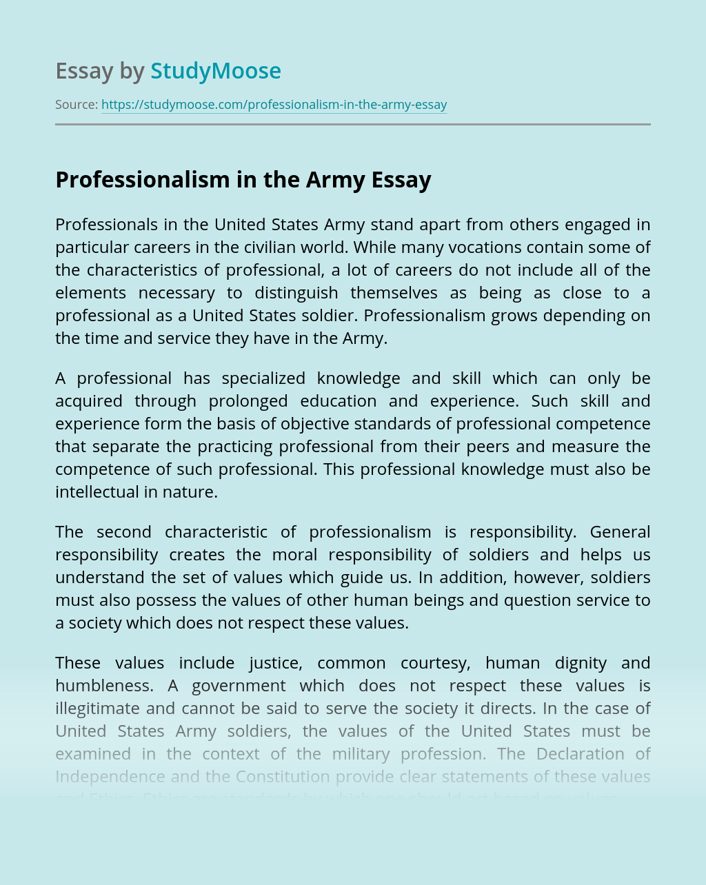 Professionalism in the Army