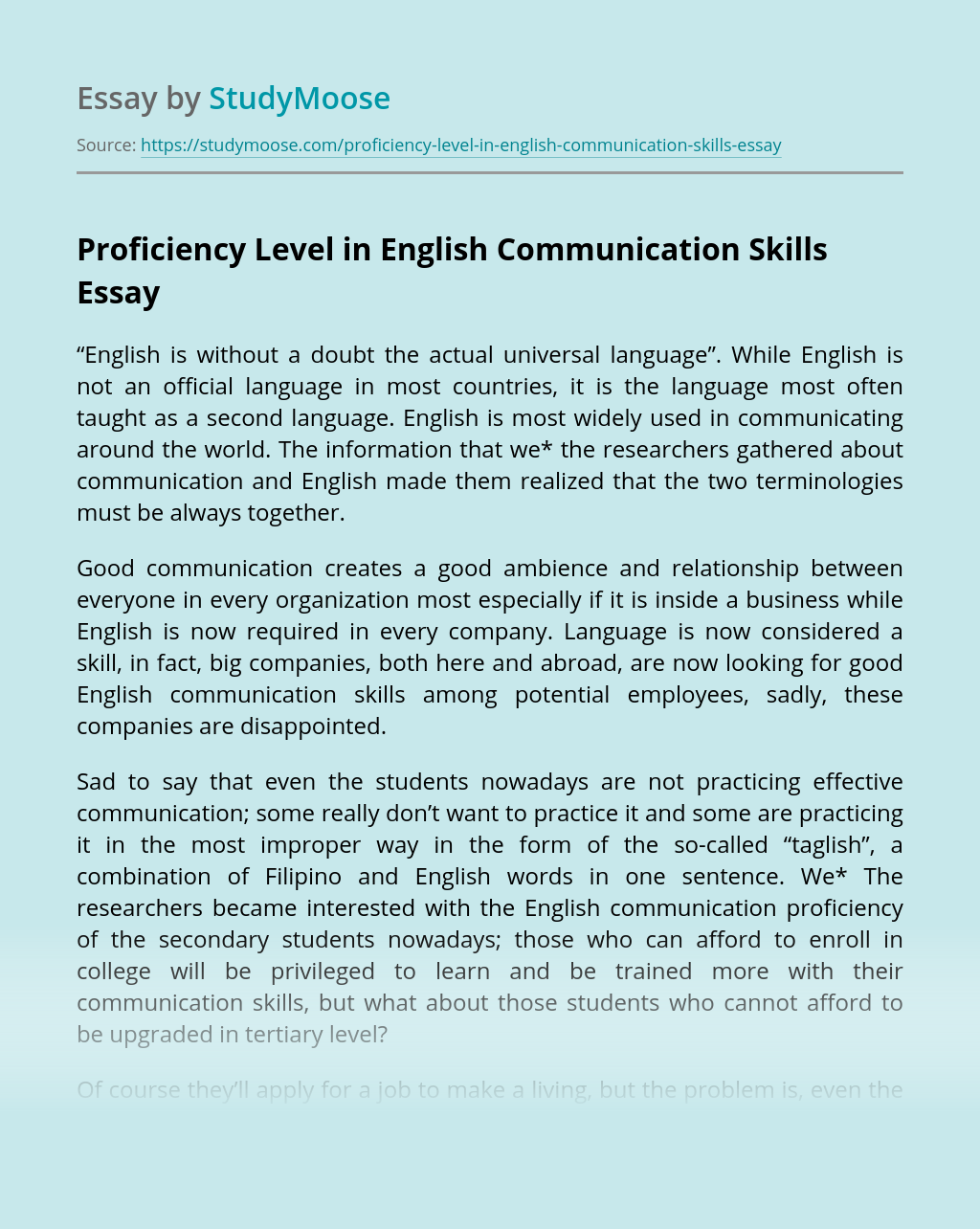 Proficiency Level in English Communication Skills