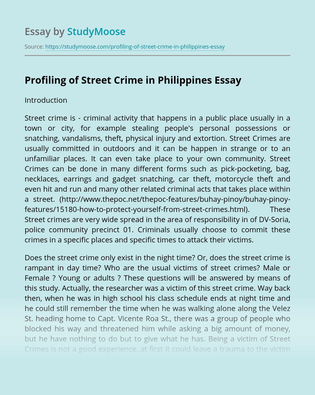 Profiling of Street Crime in Philippines