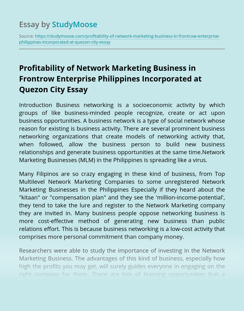 Profitability of Network Marketing Business in Frontrow Enterprise Philippines Incorporated at Quezon City