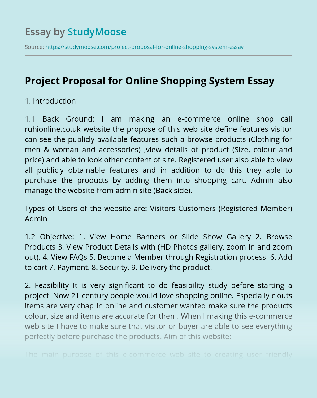 Project Proposal for Online Shopping System