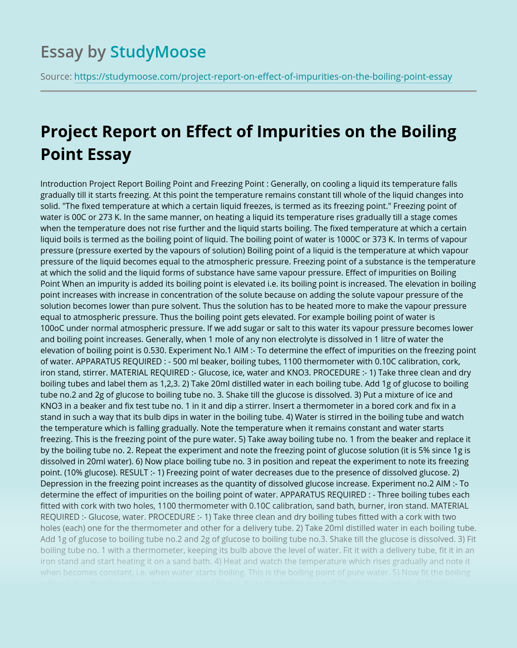 Project Report on Effect of Impurities on the Boiling Point