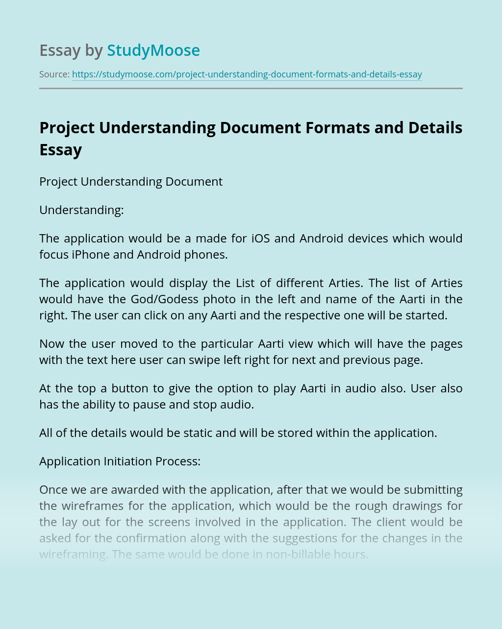 Project Understanding Document Formats and Details
