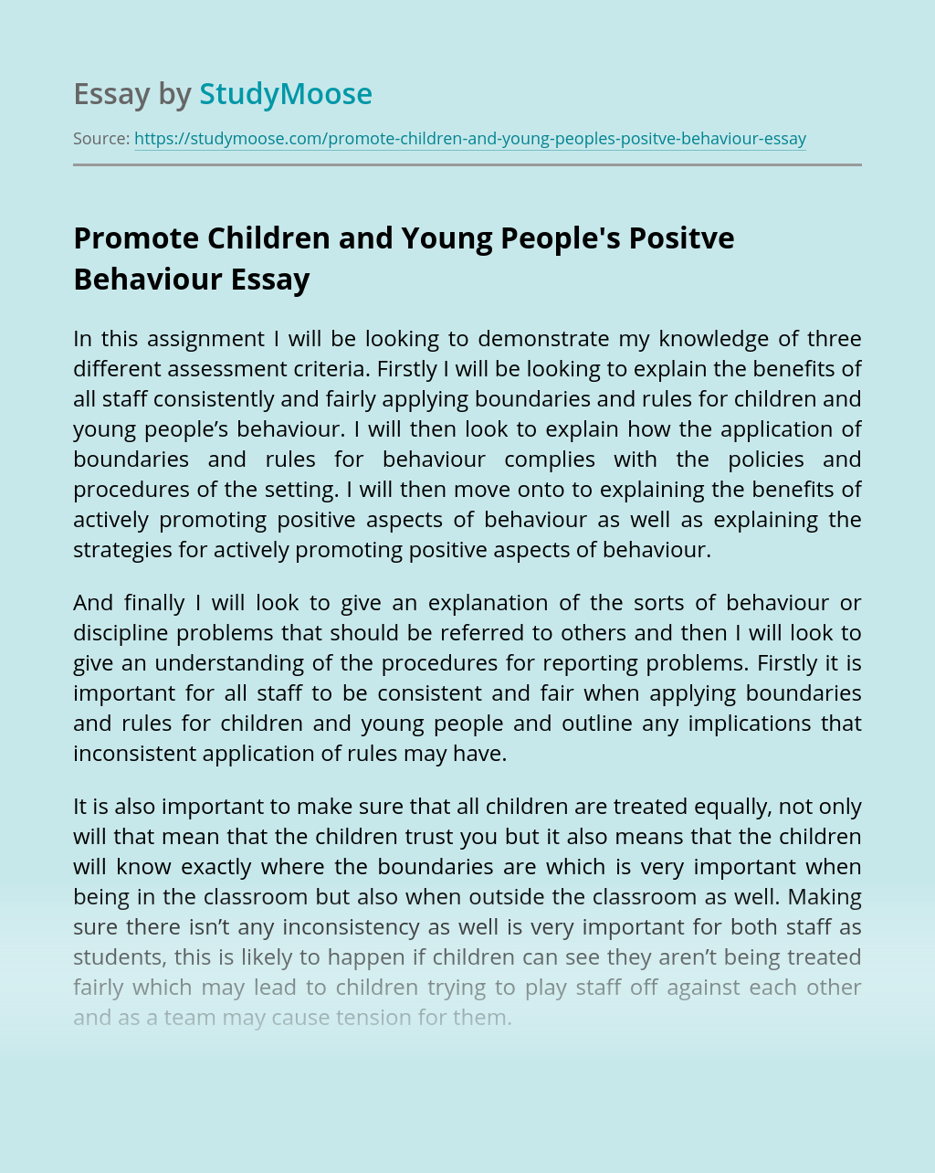 Promote Children and Young People's Positve Behaviour