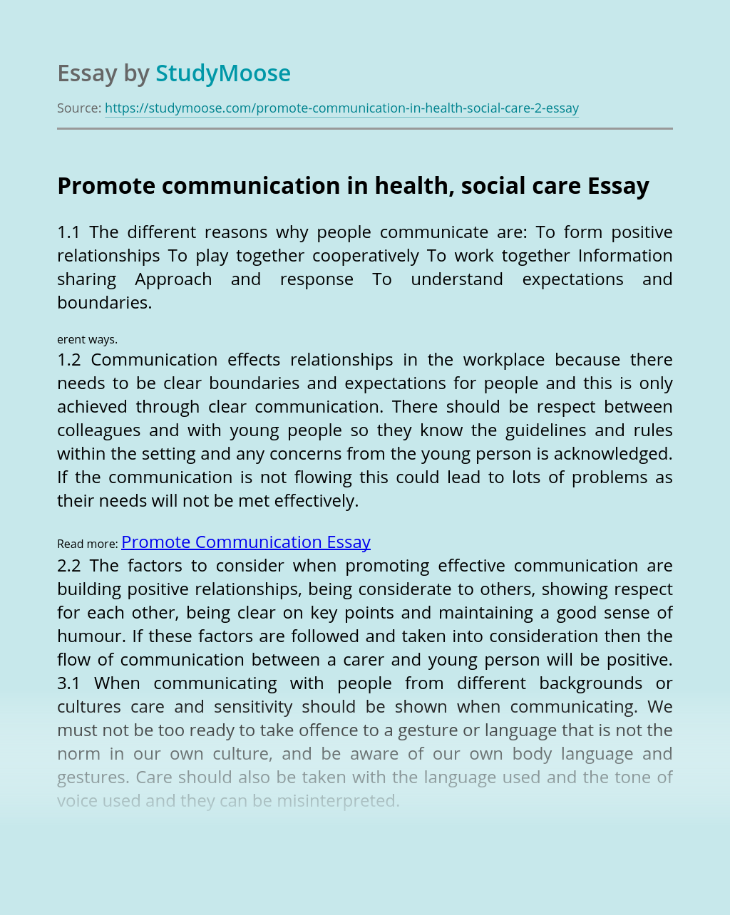 Promote communication in health, social care