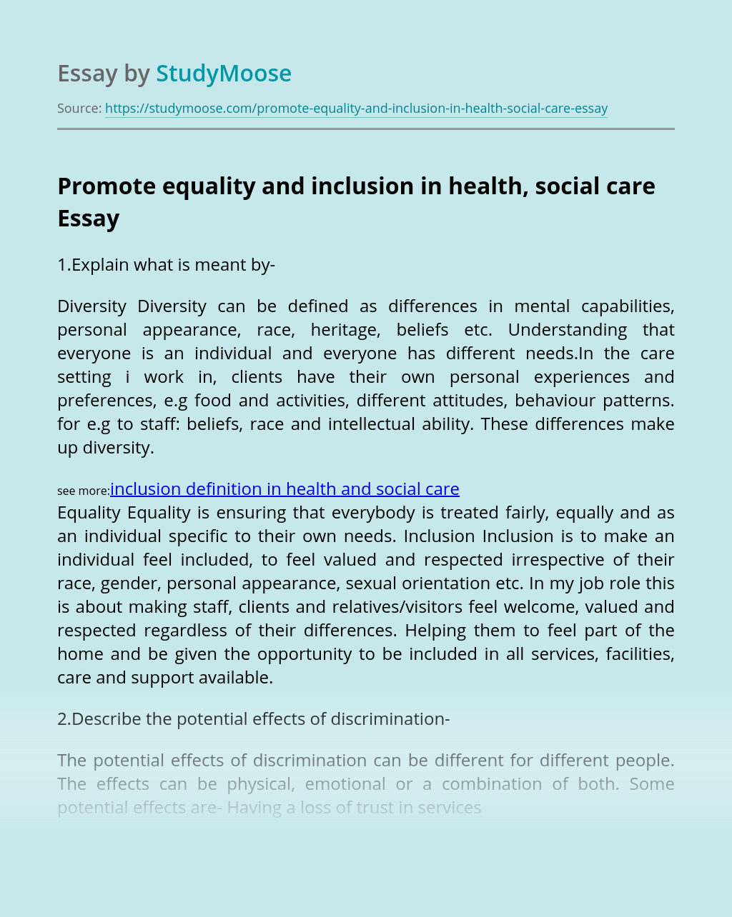 Promote equality and inclusion in health, social care