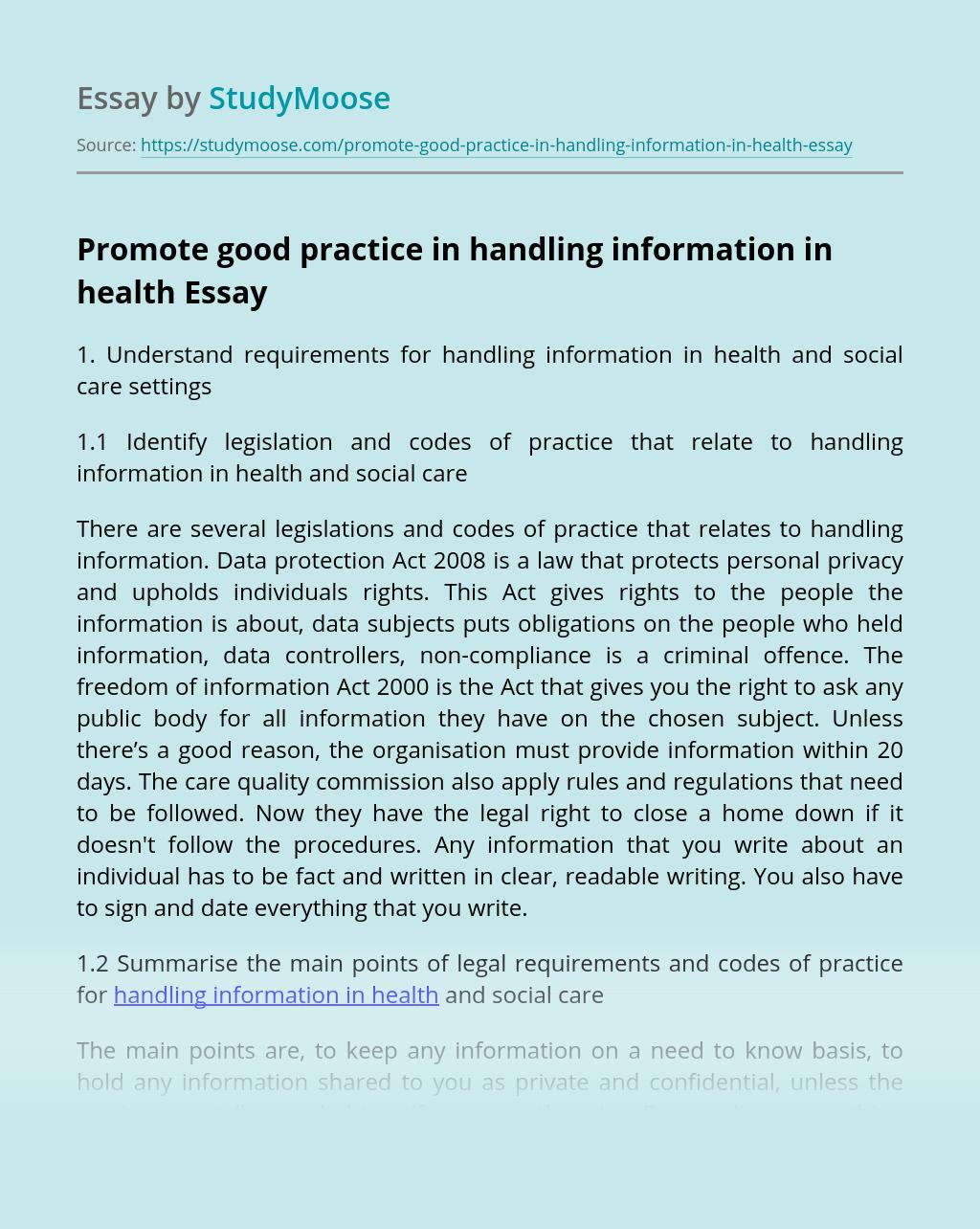 Promote good practice in handling information in health