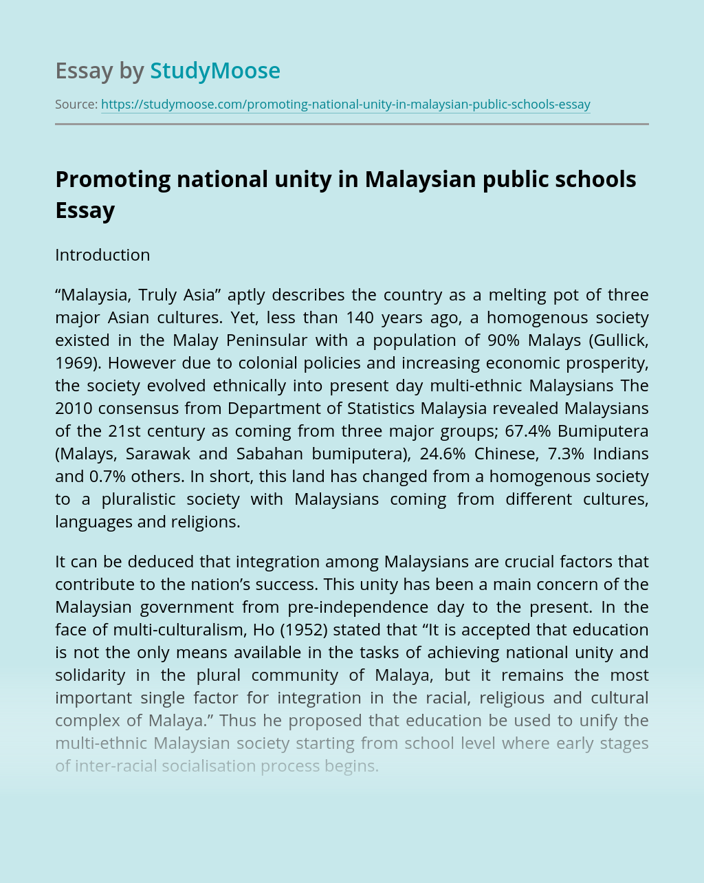 Promoting national unity in Malaysian public schools
