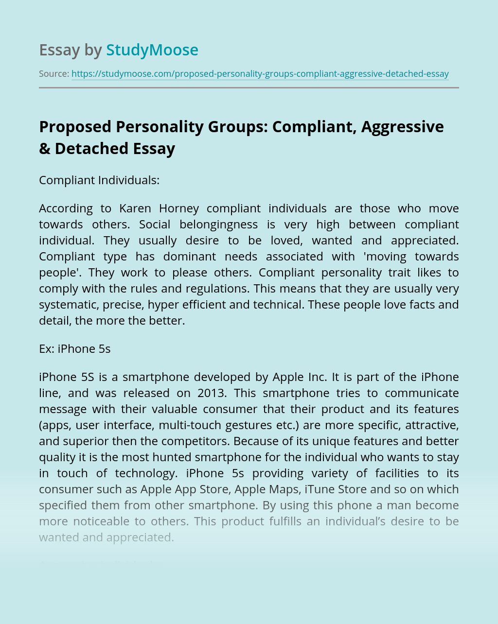 Proposed Personality Groups: Compliant, Aggressive & Detached