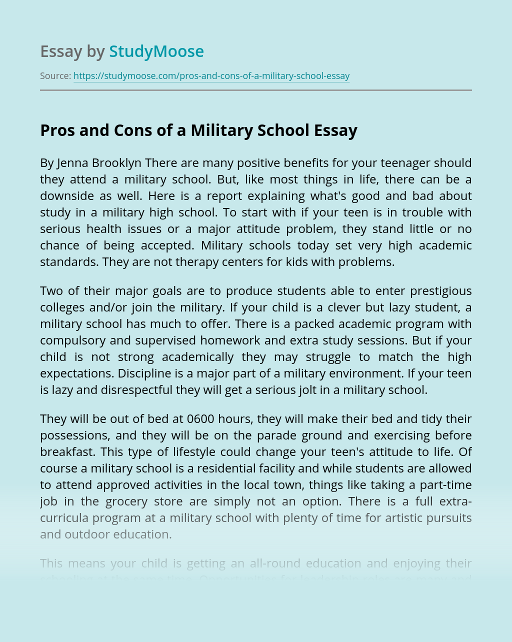 Pros and Cons of a Military School