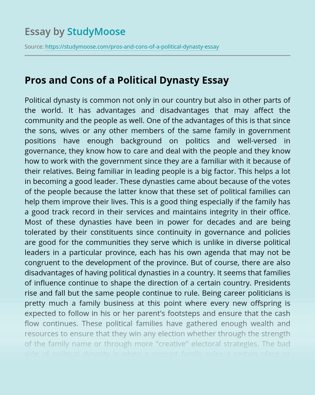 Pros and Cons of a Political Dynasty