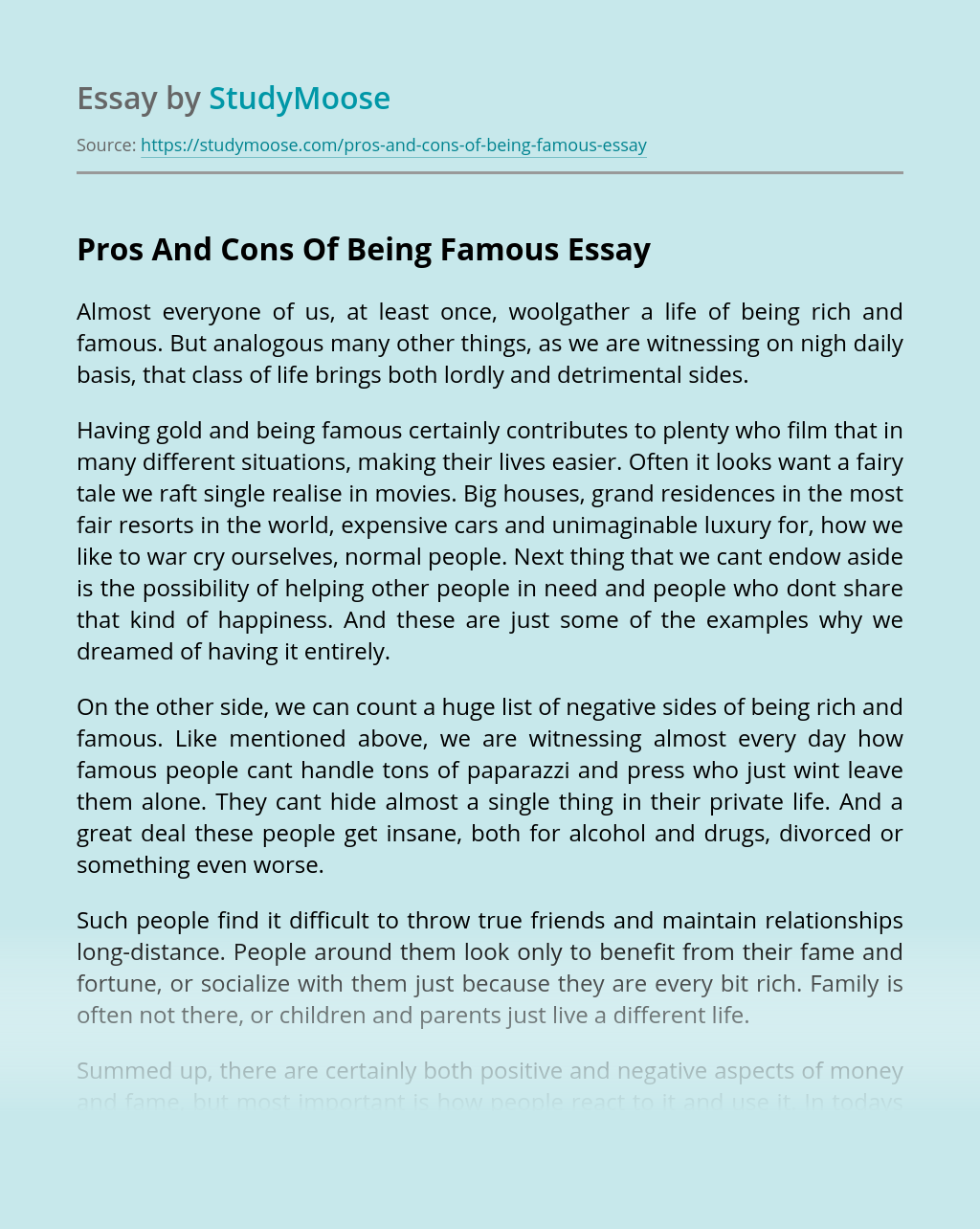 Pros And Cons Of Being Famous
