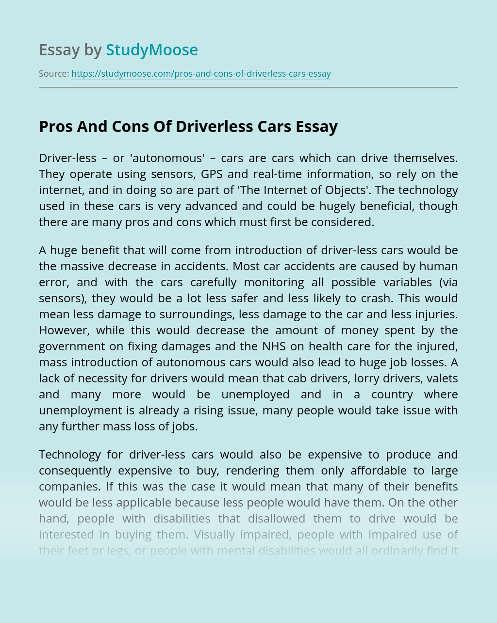 Pros And Cons Of Driverless Cars