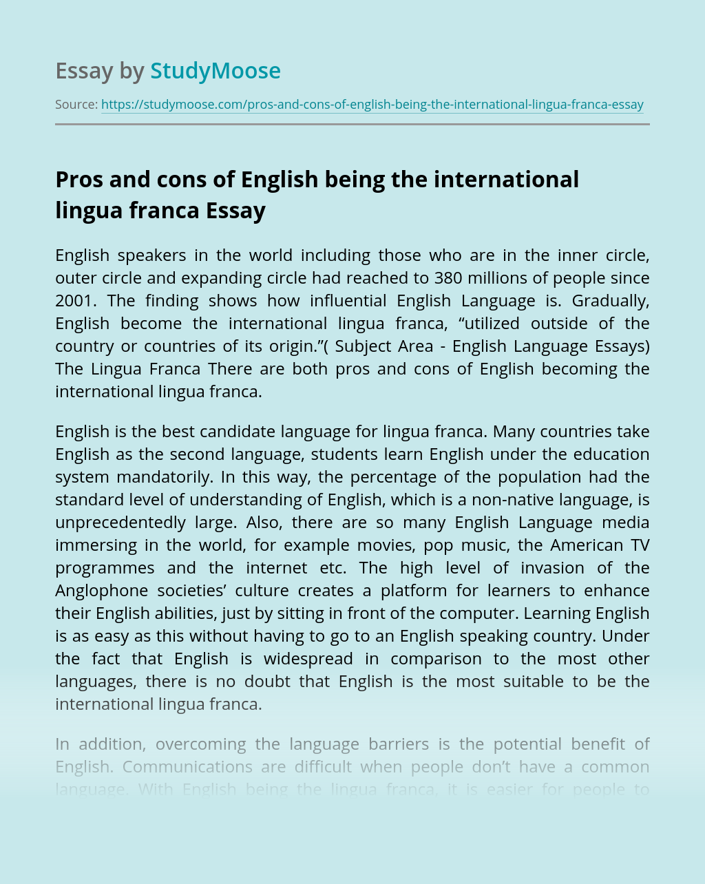 Pros and cons of English being the international lingua franca