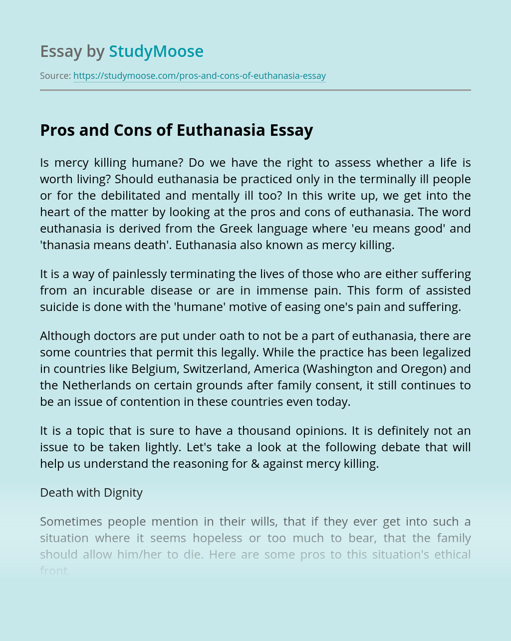Pros and Cons of Euthanasia