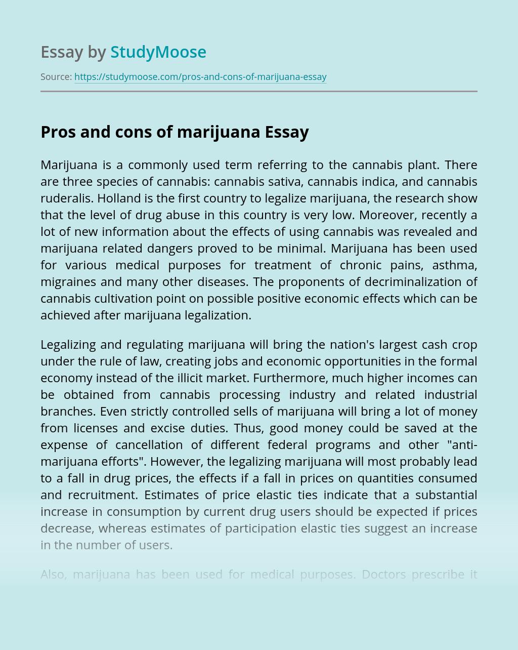 Pros and cons of marijuana
