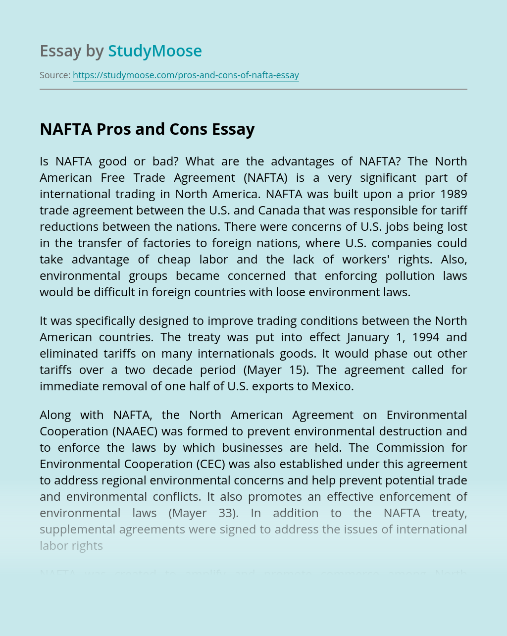 NAFTA Pros and Cons